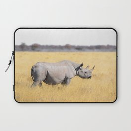 12,000pixel - 500dpi, High Quality Photograph - Rhino in the meadow Laptop Sleeve