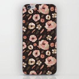 Bohemian rose floral iPhone Skin