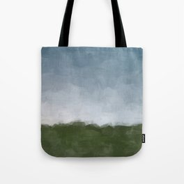 Dark Green Sky Blue White Gray Clouds Dusk on Farm Abstract Nature Rural Farmhouse Painting Art Print Wall Decor  Tote Bag