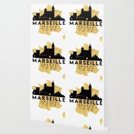 MARSEILLE FRANCE SILHOUETTE SKYLINE MAP ART Wallpaper
