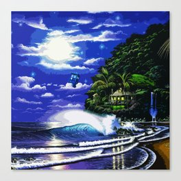 Tardis Art And The Moon Shine Canvas Print