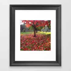 Oil crayon illustration of a red maple tree in the Boston Public Garden Framed Art Print