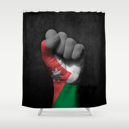 Jordanian Flag on a Raised Clenched Fist Shower Curtain