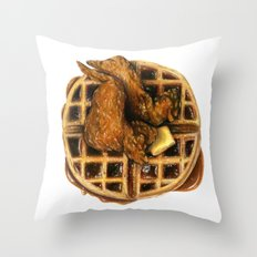 Chicken and Waffles Throw Pillow