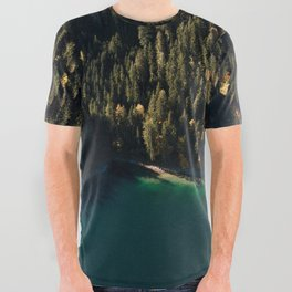 Calm Autumn Forest at a Lake All Over Graphic Tee