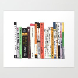 Classic Books Bookshelf Painting for Book Lovers Art Print