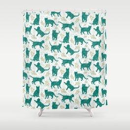 Damask Green Cats Shower Curtain