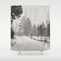 montana Shower Curtains featuring Montana Snowstorm by WarbleswithBella