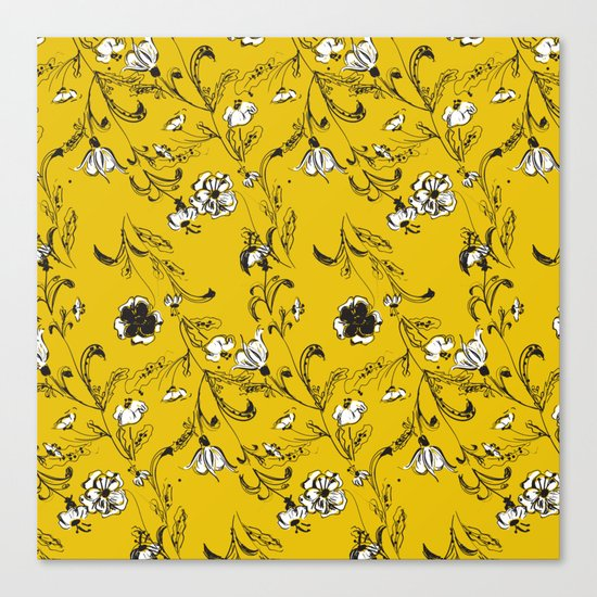 Yellow Floral Pattern Canvas Print