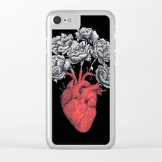 Heart with peonies on black Clear iPhone Case