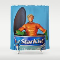 aquaman Shower Curtains featuring The Wrong Place At The Wrong Time by Beastie Toyz
