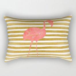 Pink Flamingo on Gold Stripes Rectangular Pillow
