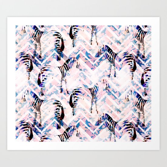 Zebras in bloom Art Print