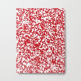 Small Spots - White and Fire Engine Red Metal Print