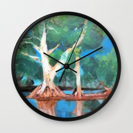 Riverbank Trees Wall Clock