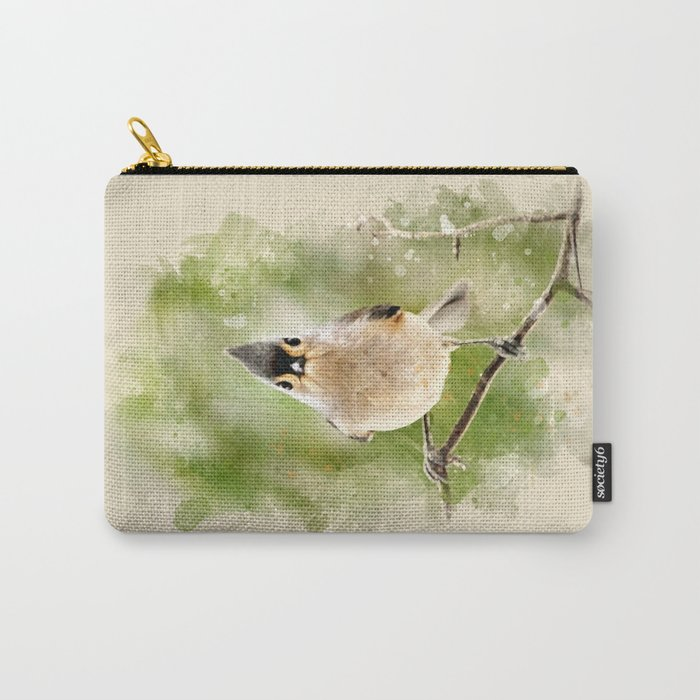 Watercolor Tufted Titmouse Art Carry-All Pouch