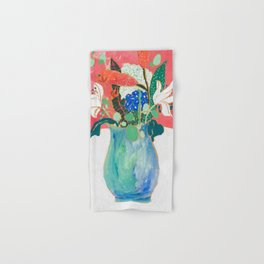 Bouquet of Flowers in Alexandrite Inspired Vase against Salmon Wall Hand & Bath Towel