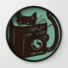 World Domination for Cats (Green) Wall Clock
