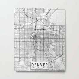 Denver City Map of the United States - Light Minimalist Metal Print