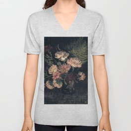 Vincent van Gogh Vase With Carnations 1886 Unisex V-Neck