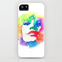 Stencil Watercolor Portrait | Stencil Portrait Watercolor Art iPhone Case