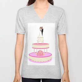 A Wedding Cake with Pink Roses, Bride and Groom Unisex V-Neck