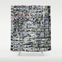 Activating the Intended and Unforeseen (P/D3 Glitch Collage Studies) Shower Curtain