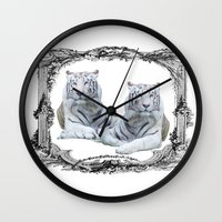 tigers Wall Clocks featuring White Tigers by haroulita
