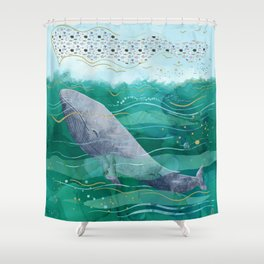 Blue Whale Song in the Emerald Ocean Shower Curtain