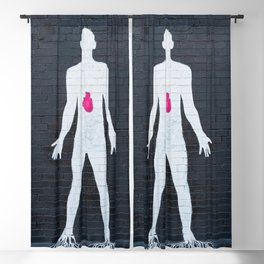 mural depicting a man painted in white with a red heart Blackout Curtain