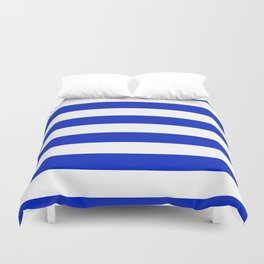 Cobalt Blue and White Wide Cabana Tent Stripe Duvet Cover