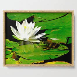 Frog with lily flower reflection Serving Tray