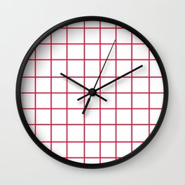 Grid (Crimson/White) Wall Clock