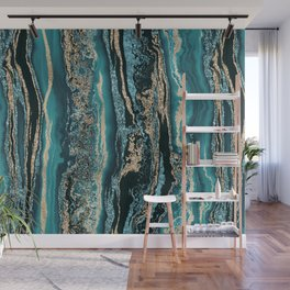 Turquoise Gold Sparkling Luxury Marble Gemstone Art Wall Mural