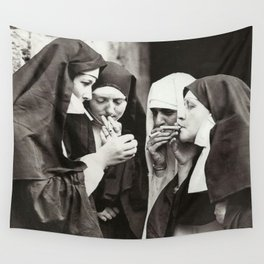 Nuns Smoking Wall Tapestry