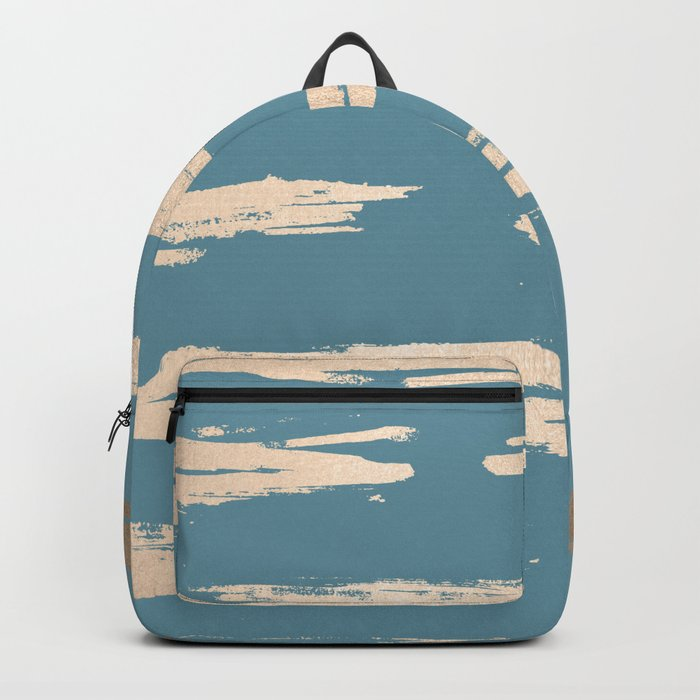 Abstract Painted Stripes Gold Tropical Ocean Blue Backpack