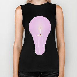 White Candle Light Bulb Biker Tank