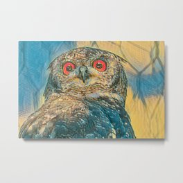 abstract real owl with red eyes Metal Print
