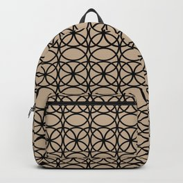 Pantone Hazelnut and Black Rings Circle Heaven 2 Overlapping Ring Design Backpack