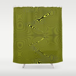 Yellow Grooves Shower Curtain