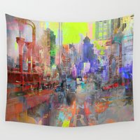 ganesh Wall Tapestries featuring Downtown by Joe Ganech