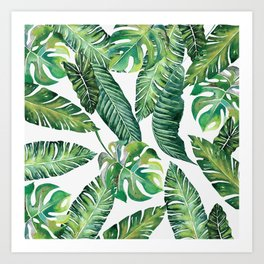 Jungle Leaves, Banana, Monstera #society6 Art Print