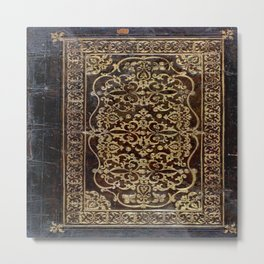 Gilded Leather Tome Metal Print