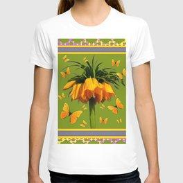 DECORATIVE GREEN & YELLOW CROWN IMPERIAL BUTTERFLIES T-shirt