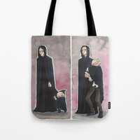 snape Tote Bags featuring Uncle Snape by CaptBexx