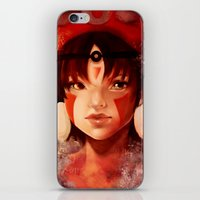 princess mononoke iPhone & iPod Skins featuring Princess Mononoke  by Peach Momoko