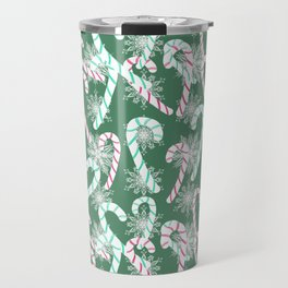 Frosty Canes Green Travel Mug