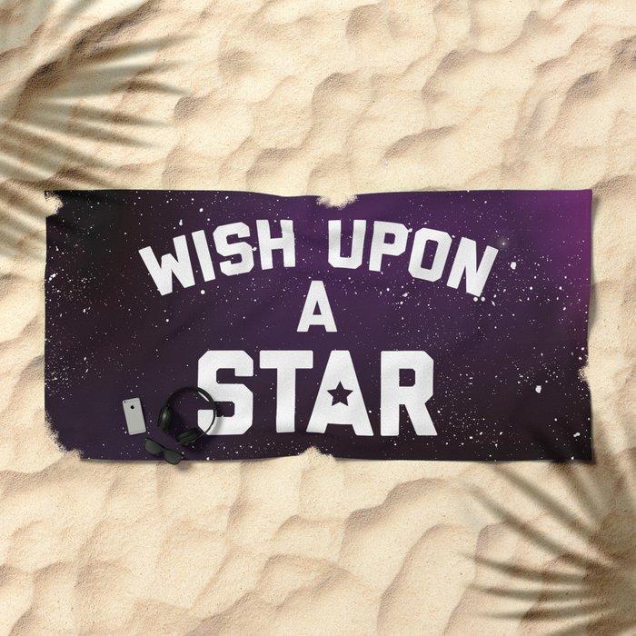 Wish Upon Star Quote Beach Towel