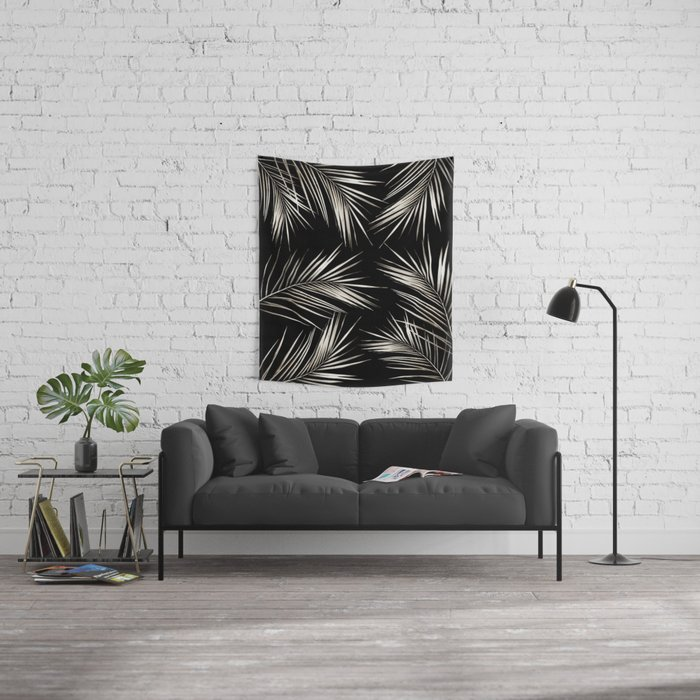 White Gold Palm Leaves on Black Wall Tapestry