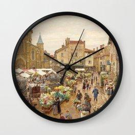 The Flower Market, Paris, France by Firmin Girard Wall Clock